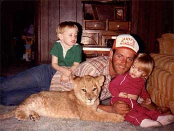 Harris Family with lion cub