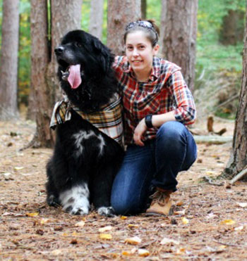 Veterinary Technician, Leah Senecal, and her dog, Koda